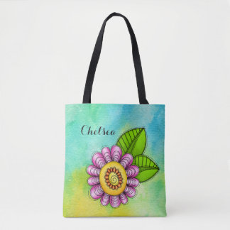 Delight Watercolor Doodle Flower Bag