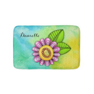 Delight Watercolor Doodle Flower Bath Mat Bath Mats