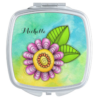 Delight Watercolor Doodle Flower Compact Mirror