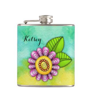 Delight Watercolor Doodle Flower Flask