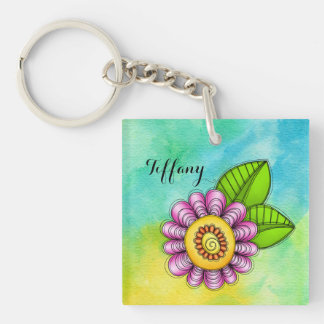 Delight Watercolor Doodle Flower Keychain