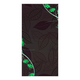 Delightful green blossom brownish leaves customized photo card