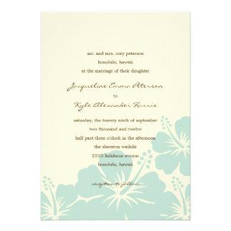 Delightful Hibiscus Wedding Invitations (Blue) Announcements