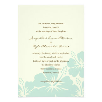 Delightful Hibiscus Wedding Invitations (Blue)