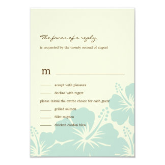 Delightful Hibiscus Wedding RSVP Cards (Blue) 9 Cm X 13 Cm Invitation Card