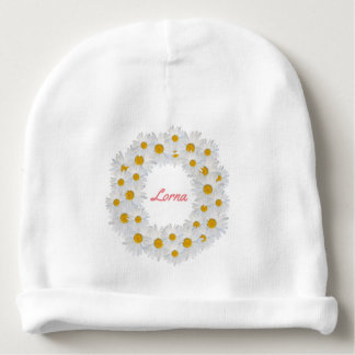 Delightful Personalised Daisy Ring Baby Beanie