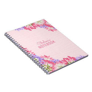 Delightful pink and mauve floral journal monogram