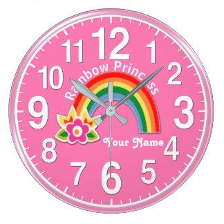 Delightful Rainbow Princess Clock PERSONALIZED