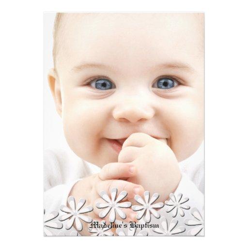 Delightful White Daisies Photo Invitation
