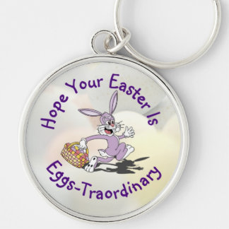 Delightful - Yippy! It's Easter Egg Hunting Season Silver-Colored Round Key Ring