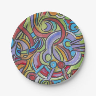 Delirious-Hand Painted Abstract Pattern Paper Plate