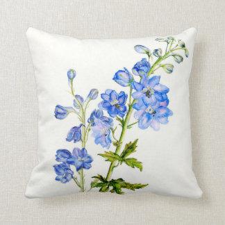 Delphinium blue fine art floral square pillow