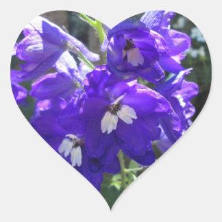Delphinium Flower Close Heart Sticker