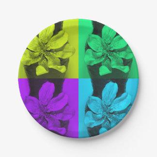 Delphinium  flowers painting paper plate