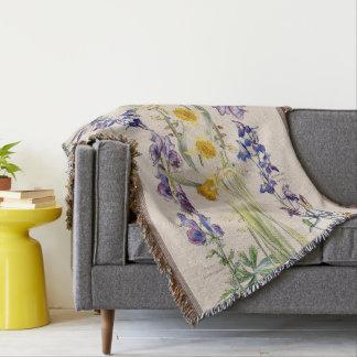 Delphinium Narcissus Floral Throw Blanket