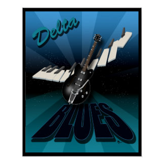 Delta Blues Guitar and Keyboard Starburst Poster