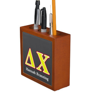 Delta Chi Red and Yellow Letters Desk Organizer