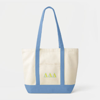 Delta Delta Delta Blue and Yellow Letters Tote Bag