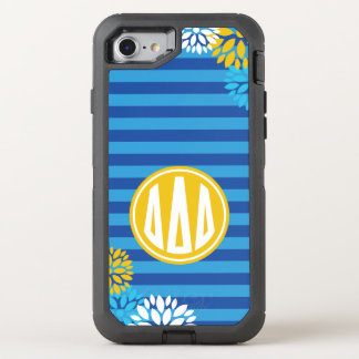 Delta Delta Delta | Monogram Stripe Pattern OtterBox Defender iPhone 8/7 Case