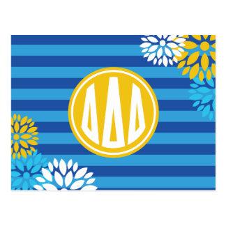 Delta Delta Delta | Monogram Stripe Pattern Postcard
