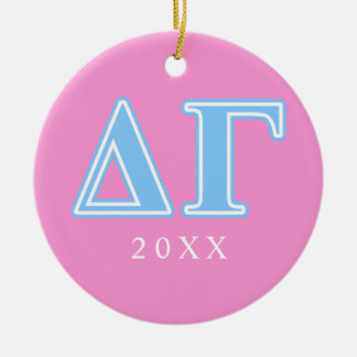 Delta Gamma Blue Letters Ceramic Ornament