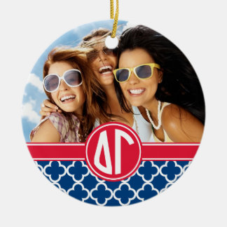 Delta Gamma | Monogram and Photo Ceramic Ornament