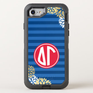 Delta Gamma | Monogram Stripe Pattern OtterBox Defender iPhone 8/7 Case