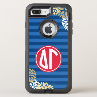 Delta Gamma | Monogram Stripe Pattern OtterBox Defender iPhone 8 Plus/7 Plus Case