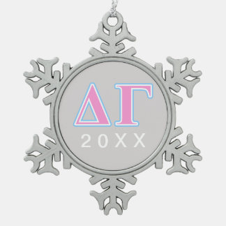 Delta Gamma Pink and Blue Letters Snowflake Pewter Christmas Ornament