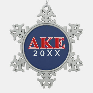 Delta Kappa Epsilon Red Letters Snowflake Pewter Christmas Ornament