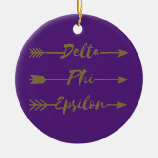 Delta Phi Epsilon Arrow Ceramic Ornament