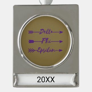 Delta Phi Epsilon Arrow Silver Plated Banner Ornament