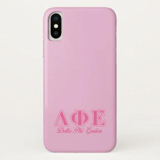Delta Phi Epsilon Pink Letters iPhone X Case