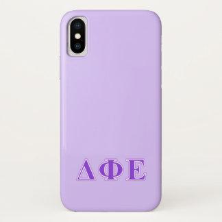 Delta Phi Epsilon Purple and Lavender Letters iPhone X Case