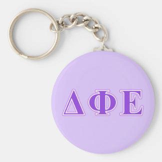 Delta Phi Epsilon Purple and Lavender Letters Key Ring