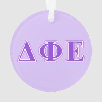 Delta Phi Epsilon Purple and Lavender Letters Ornament