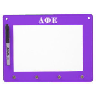 Delta Phi Epsilon White and Purple Letters Dry Erase Board With Key Ring Holder