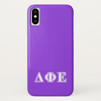 Delta Phi Epsilon White and Purple Letters iPhone X Case