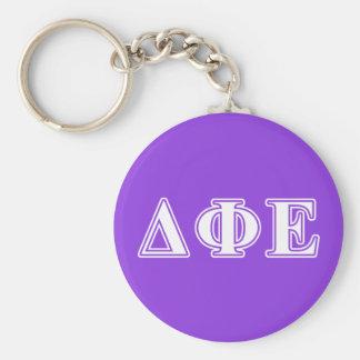 Delta Phi Epsilon White and Purple Letters Key Ring