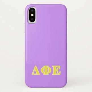 Delta Phi Epsilon Yellow Letters iPhone X Case