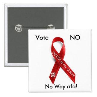 Delta Ribbon, Vote, NO, No Way afa! 15 Cm Square Badge