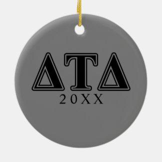 Delta Tau Delta Black Letters Ceramic Ornament