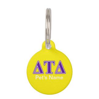 Delta Tau Delta Purple Letters Pet Nametag