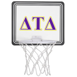 Delta Tau Delta Yellow and Purple Letters Mini Basketball Hoop