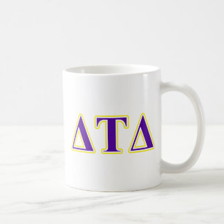 Delta Tau Delta Yellow and Purple Letters Coffee Mugs