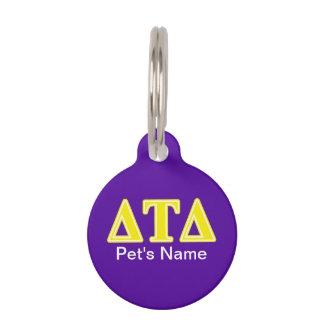 Delta Tau Delta Yellow Letters Pet Nametags