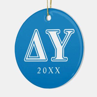 Delta Upsilon White and Sapphire Blue Letters Ceramic Ornament