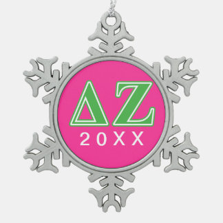 Delta Zeta Green Letters Snowflake Pewter Christmas Ornament
