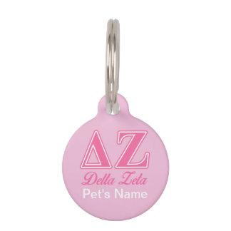 Delta Zeta Pink Letters Pet Tag