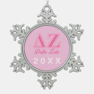 Delta Zeta Pink Letters Snowflake Pewter Christmas Ornament
